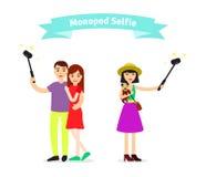 Концепция selfie Monopod Девушка держа щенка и делает Счастливый обнимать пар делает Характеры вектора в рассказах Стоковая Фотография RF