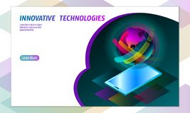 концепция smartphone дисплея 3D-enabled Стереоскопическая равновеликая технология нововведения дела 3D Красочный живой цвет Стоковые Фотографии RF