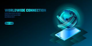 концепция smartphone дисплея 3D-enabled Стереоскопическая равновеликая технология нововведения дела 3D Голубая форма глобуса косм Стоковая Фотография RF