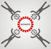 Концепция Teambuilding Бизнесмен и шестерни Стоковые Фото