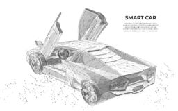 Концепция wireframe вектора автомобилей Спортивная машина Футуристический умный автомобиль Концепция wireframe корабля Дизайн век бесплатная иллюстрация