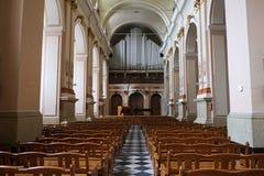 Концертный зал органа трубы в католическом соборе Стоковое Изображение RF
