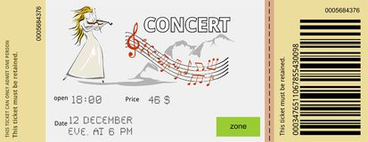 Концерт билета иллюстрация штока