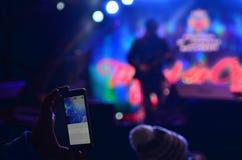 Концерт записи с умным телефоном Стоковое Изображение