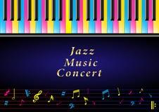 Концерт музыки плаката Реалистические пестротканые ключи рояля и музыкальные примечания бесплатная иллюстрация