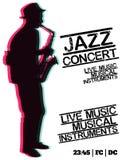 Концерт музыки син джаза, шаблон предпосылки плаката Стоковое Изображение