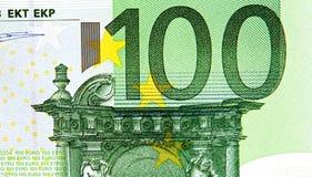 100 концов банкноты евро вверх Стоковые Фотографии RF