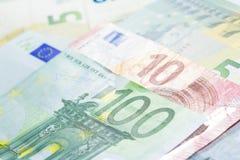 100 концов банкноты евро вверх Стоковая Фотография RF