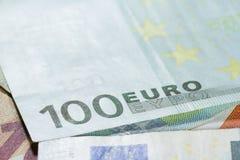 100 концов банкноты евро вверх Стоковое Изображение RF