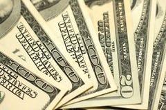 100 концов-вверх долларовых банкнот Стоковое Изображение