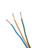 Концы электрического кабеля, изолированные на белизне Красочная пачка избирает Стоковая Фотография