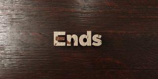 Концы - grungy деревянный заголовок на клене - представленное 3D изображение неизрасходованного запаса королевской власти бесплатная иллюстрация