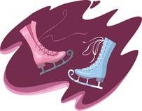 коньки катаясь на коньках 2 женской диаграммы мыжские Стоковая Фотография
