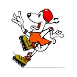 коньки ролика собаки иллюстрация штока