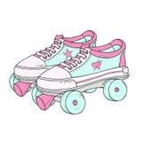 Коньки ролика квада на белой предпосылке Ретро зашнурованные ботинки, красочная иллюстрация вектора Стоковые Фото