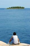 конькобежец острова мальчика Стоковые Фото