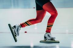 Конькобежец спортсменов женщин ног крупного плана Стоковая Фотография RF