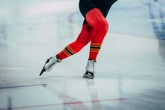Конькобежец спортсменов женщин ног крупного плана Стоковое Фото
