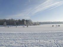 Конькобежцы на естественном льде Стоковая Фотография