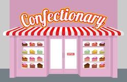 Кондитерская Внешняя витрина магазина с тортами Куски пирога на плите бесплатная иллюстрация