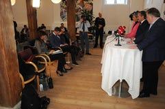 Копенгаген/Дания 15 Ноябрь 2018 3 министра министр Дании Андерса Samuelsen датский для иностранных дел служат для стоковые изображения rf