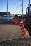 Копенгаген, Дания - 1-ое апреля 2019: Мост Cirkelbroen на Копенгагене на солнечный день, с голубым небом стоковое фото rf