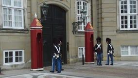 Копенгаген, Дания - 31-ое мая 2017: Королевские предохранители во время церемонии изменять предохранители на Amalienborg рокируют видеоматериал