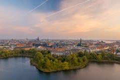 Копенгаген, красивый горизонт датской столицы Стоковые Изображения RF