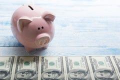 Копилка и деньги наличных денег доллара концепция дела, финансов, вклада, сбережений и коррупции Стоковое Фото