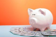 Копилка и деньги наличных денег доллара концепция дела, финансов, вклада, сбережений и коррупции Стоковая Фотография RF