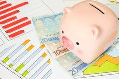 Копилка и евро на диаграммах дела Стоковые Изображения RF