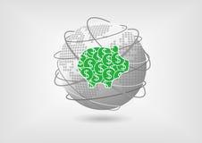 Копилка как концепция для глобальных сбережений иллюстрация вектора