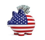 Копилка с долларом США Стоковые Фото