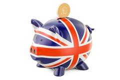 Копилка с флагом Великобритании и золотого фунта стерлинга иллюстрация вектора
