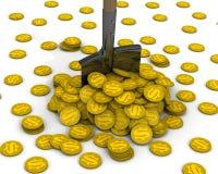 Копните и куча монеток с символом американского доллара иллюстрация вектора