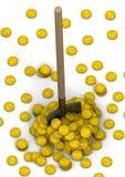 Копните и куча монеток с символом американского доллара Стоковые Фотографии RF