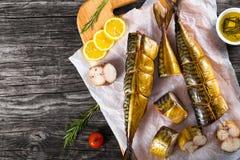 Копченая скумбрия рыб или Scombe, взгляд сверху Стоковое Фото