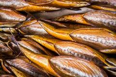 Копченые рыбы в различных размерах кладя на таблицу Стоковые Изображения RF
