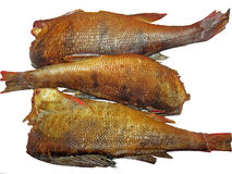 Копченые рыбы на белой предпосылке Стоковое фото RF
