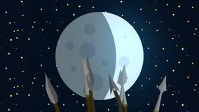 Копья примитивного племени развевая на луне видеоматериал