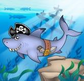 кораблекрушение акулы пирата шаржа иллюстрация штока