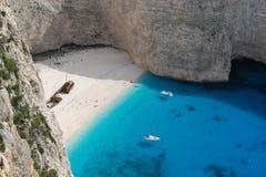кораблекрушение zakynthos острова Греции пляжа Стоковая Фотография RF