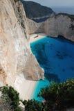 кораблекрушение zakynthos острова Греции пляжа Стоковые Изображения