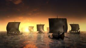 Корабли Викингов на туманной воде иллюстрация вектора
