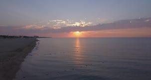 корабли горизонта рассвета груза пляжа сток-видео