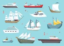 Корабли на море, грузящ шлюпки, установленные значки вектора перехода океана иллюстрация штока