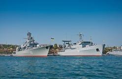 Корабли украинских военно-морских сил в заливе Севастополя Стоковое фото RF