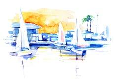 корабли sailing иллюстрация вектора