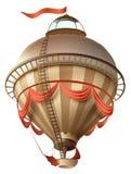 Корабль блимпа воздушного шара ретро при флаг изолированный на белизне иллюстрация штока