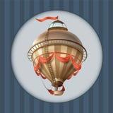Корабль блимпа воздушного шара ретро с рамкой поздравительной открытки флага иллюстрация штока